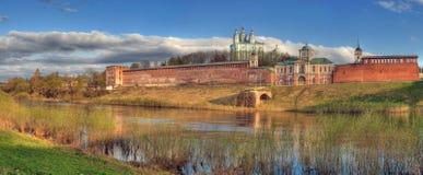 Domkyrka och befästning bak floden Royaltyfri Fotografi