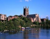 Domkyrka och flod Severn, Worcester. Arkivbilder
