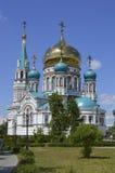 domkyrka omsk uspensky russia Arkivbilder