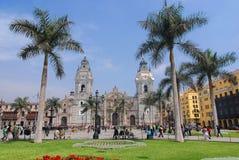 Domkyrka på Plaza de Armas Arkivbild