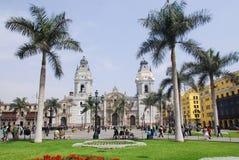 Domkyrka på Plaza de Armas Arkivfoto