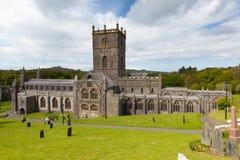 Domkyrka Pembrokeshire Wales för St Davids Royaltyfri Foto