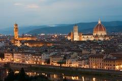 Domkyrka Santa Maria del Fiore, Palazzo Vecchio och Arno River Fotografering för Bildbyråer