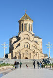 Domkyrka Tbilisi för helig Treenighet (Tsminda Sameba) Arkivfoton
