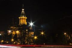 Domkyrka Timisoara för nattvision Arkivbilder