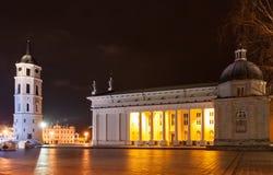Domkyrkabyggnaden och domkyrkaklocka-tornet, Vilnius, Li Royaltyfri Foto