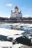 domkyrkachrist moscow russia frälsare Isen på den Moskva floden Royaltyfri Fotografi