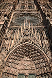 Domkyrkafasad, Strasbourg, Frankrike Arkivfoto