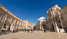 Domkyrkafyrkant - Ortygia Syracuse Sicilien Italien Arkivfoto