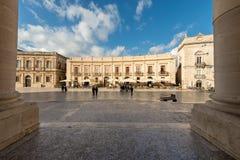 Domkyrkafyrkant - Ortygia Syracuse Sicilien Italien Fotografering för Bildbyråer
