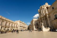 Domkyrkafyrkant - Ortygia Syracuse Sicilien Italien Arkivbilder