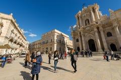 Domkyrkafyrkant - Ortygia Syracuse Sicilien Italien Royaltyfria Bilder