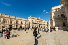 Domkyrkafyrkant - Ortygia Syracuse Sicilien Italien Royaltyfria Foton