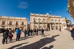 Domkyrkafyrkant - Ortygia Syracuse Sicilien Italien Royaltyfri Foto