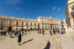 Domkyrkafyrkant - Ortygia Syracuse Sicilien Italien Royaltyfri Bild