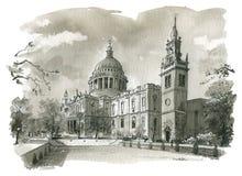 Domkyrkaillustration för St Pauls stock illustrationer