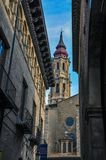 Domkyrkan av frälsaren eller laen Seo de Zaragoza är en Roman Cat Royaltyfri Fotografi