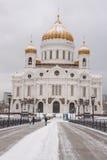 Domkyrkan av Kristus frälsaren i vintern, Moskva Royaltyfri Bild