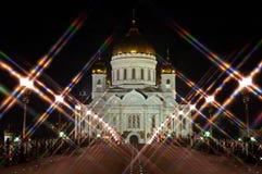 Domkyrkan av Kristus frälsarenattMoskva Ryssland Bakre sikt från bron Stjärnafilter Arkivbilder