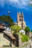 Domkyrkan av Notre Dame av Lausanne Arkivbild