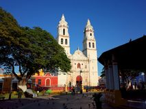 Domkyrkan av vår dam av den rena befruktningen i Campeche i Mexico arkivbild