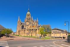 Domkyrkan Notre-Dame de Bayeux Den antika Normand-romanska domkyrkan lokaliseras i Bayeux, Calvados avdelningen av Normandie Arkivfoton