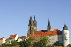 Domkyrkan och slotten meissen royaltyfri fotografi