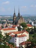 Domkyrkan och staden av Brno, Tjeckien, Europa Royaltyfri Fotografi