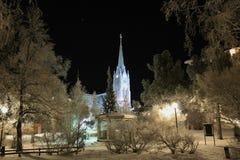 Domkyrkan och staden parkerar i Luleå i de frostiga vinterlagen arkivbilder
