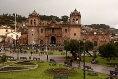 Domkyrkan, Plaza de Armas, Cusco, Peru Royaltyfria Bilder