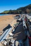Dommages à Lekeitio après ouragan Christine photos libres de droits