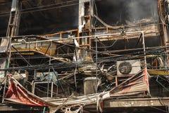 Dommages d'incendie de logement et de restaurant photos stock