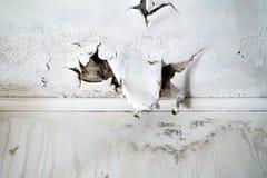 Dommages de l'eau au plafond blanc photographie stock libre de droits