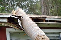 Dommages de la tornade EF0 sur le toit de maison photographie stock libre de droits