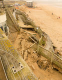 Dommages de Newquay de plage de Fistral provoqués par des tempêtes Photo libre de droits