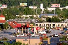 Dommages de tornade de Ringgod la Géorgie Image stock