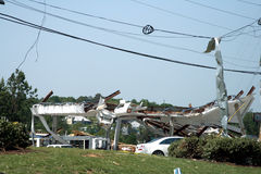 Dommages de tornade de Ringgod la Géorgie Photo stock