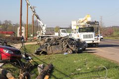 Dommages TN 9 de tornade Photographie stock libre de droits