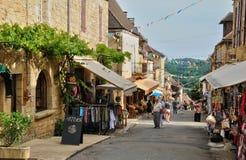 法国, Domme美丽如画的村庄  免版税库存图片