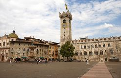 Domo da praça com o Torre Civica, Trento, Italy Imagens de Stock Royalty Free