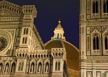 Domo de Florença em a noite fotografia de stock