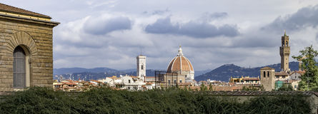 Domo e Palazzo Vecchio, Florença do palácio de Pitti Fotos de Stock Royalty Free