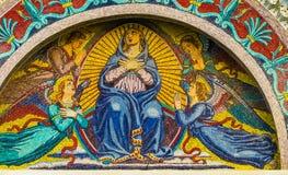 Domo Pisa Itália de Mary Angels Mosaic Facade Cathedral do Virgin fotos de stock royalty free