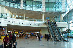 Domodedovo Airport Arrival Hall, Moscow. MOSCOW, RUSSIA - AUGUST 28, 2016:  Interior Domodedovo airport`s arrival hall Stock Photo