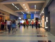 Domodedovo airport. Internal view of international terminal. Unfocused. stock image