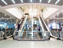 Domodedovo airport. Internal view of international terminal. Unfocused. Russia. Moscow. 2017, July 17. Domodedovo airport. Internal view of international Stock Photo