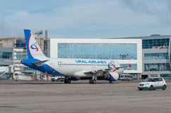 Domodedovo airport, Moscow - July 11th, 2015: Airbus A319 VQ-BFZ of Ural Airlines Royalty Free Stock Image