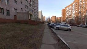 Domodedovo miasto, Rosja, panarama środkowa ulica, wiosna czas zdjęcie wideo
