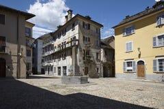 Domodossola, historic Italian city. Domodossola's historic center, tourist Italian towns Royalty Free Stock Photography