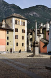 Domodossola, Italy. Central square. Domodossola central square colorful buildings. Historical setting, old architecture Royalty Free Stock Photography